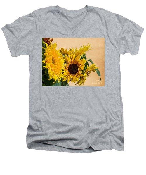 Sunflowers On Old Paper Background Art Prints Men's V-Neck T-Shirt by Valerie Garner