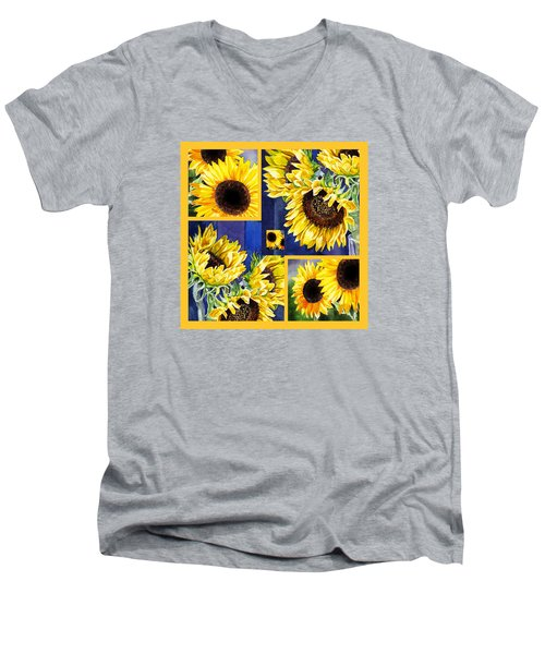 Sunflowers Sunny Collage Men's V-Neck T-Shirt by Irina Sztukowski