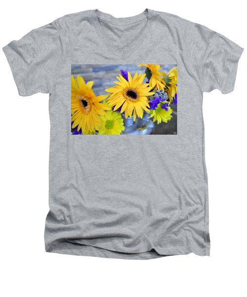 Men's V-Neck T-Shirt featuring the photograph Sunny Days by Ally  White