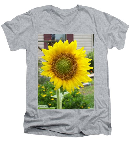Men's V-Neck T-Shirt featuring the photograph Bright Sunflower Happiness by Belinda Lee