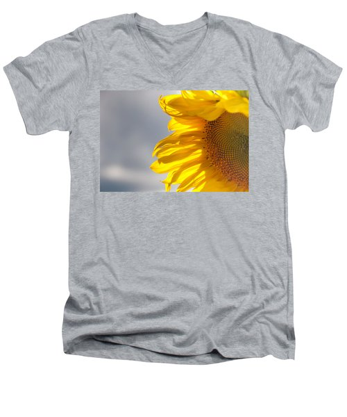 Men's V-Neck T-Shirt featuring the photograph Sunny Sunflower by Cheryl Baxter