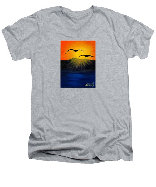 Sunrise And Two Seagulls Men's V-Neck T-Shirt