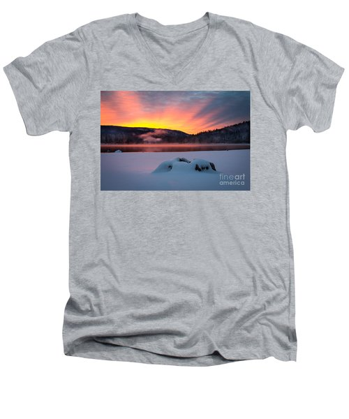 Men's V-Neck T-Shirt featuring the photograph Sunrise At Bass Lake by Vincent Bonafede