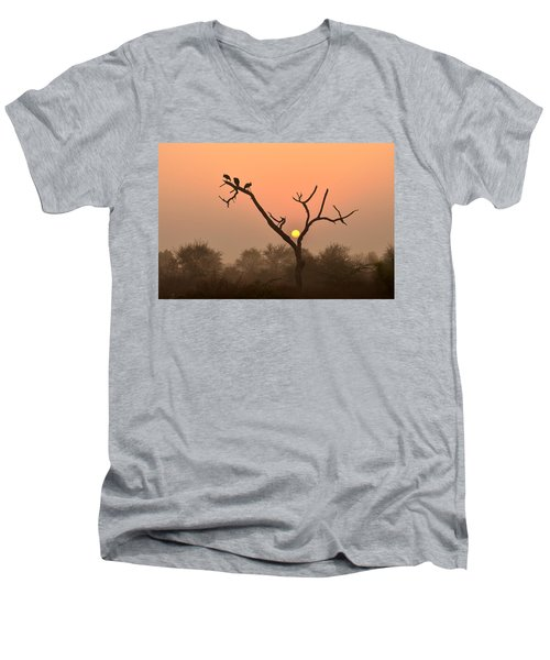 Sunrise At Bharatpur Men's V-Neck T-Shirt