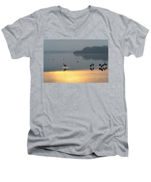 Sunrise Over The Hula Valley Israel 1 Men's V-Neck T-Shirt