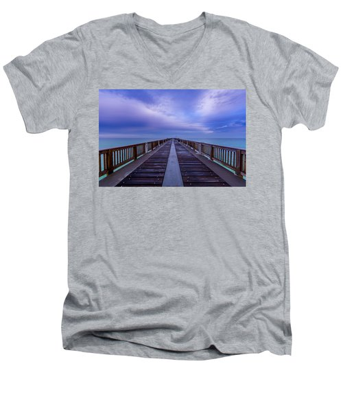 Sunrise At The Panama City Beach Pier Men's V-Neck T-Shirt