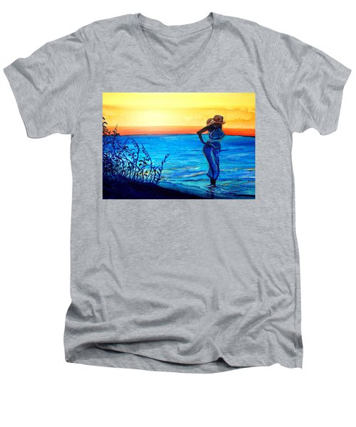Men's V-Neck T-Shirt featuring the painting Sunrise Blues by Ecinja Art Works