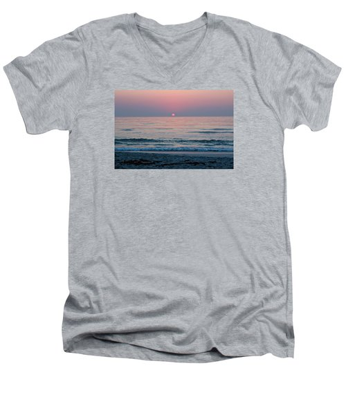 Men's V-Neck T-Shirt featuring the photograph Sunrise Blush by Julie Andel