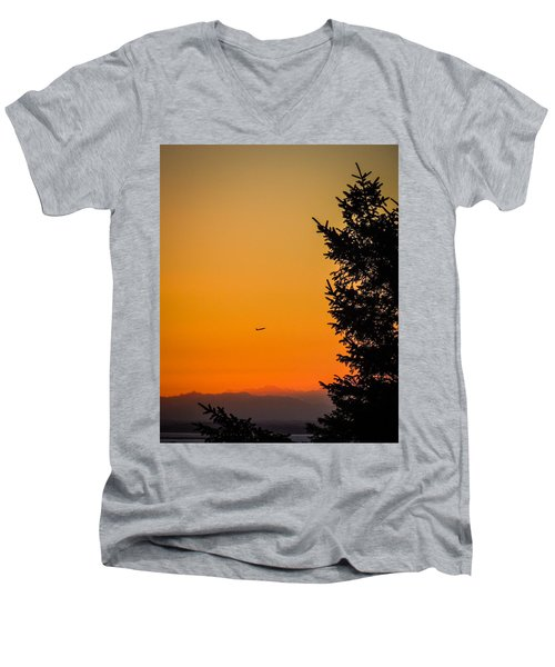 Sunrise Flight Departing Shannon Airport Men's V-Neck T-Shirt
