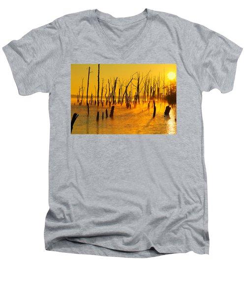 Sunrise Fog Shadows Men's V-Neck T-Shirt by Roger Becker