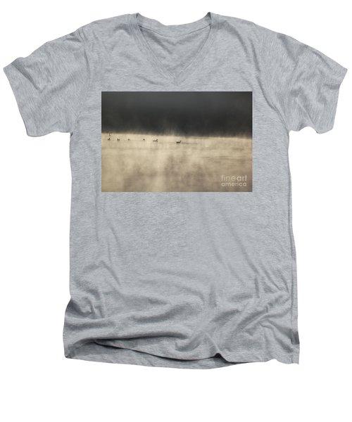 Sunrise Geese Men's V-Neck T-Shirt by Melissa Petrey