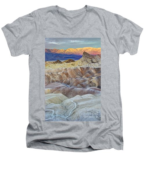 Sunrise In Death Valley Men's V-Neck T-Shirt by Juli Scalzi