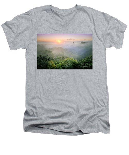 Sunrise In Tikal Men's V-Neck T-Shirt