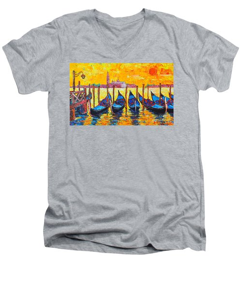 Sunrise In Venice Italy Gondolas And San Giorgio Maggiore Men's V-Neck T-Shirt by Ana Maria Edulescu