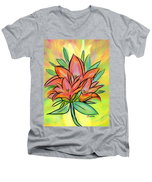 Sunrise Lily Men's V-Neck T-Shirt