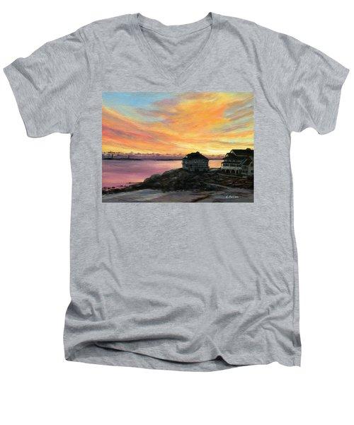 Sunrise Long Beach Rockport Ma Men's V-Neck T-Shirt by Eileen Patten Oliver