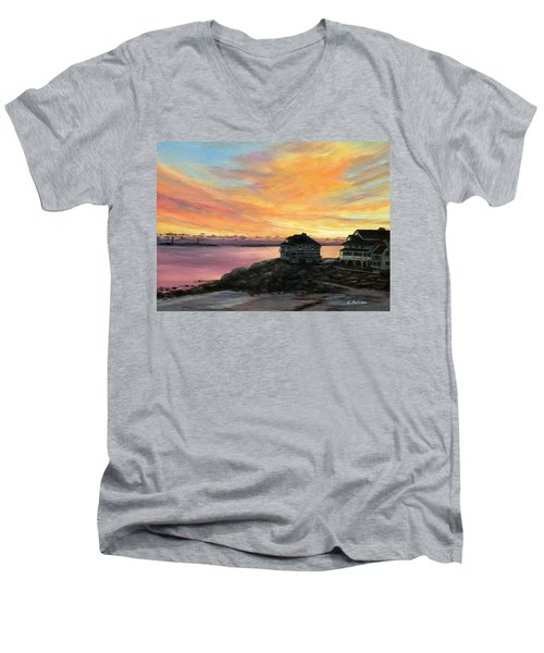 Sunrise Long Beach Rockport Ma Men's V-Neck T-Shirt