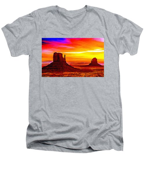 Sunrise Monument Valley Mittens Men's V-Neck T-Shirt