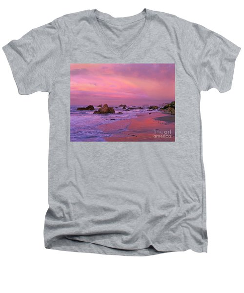 Men's V-Neck T-Shirt featuring the photograph Sunrise On Sea Stacks Harris Sb Oregon by Dave Welling