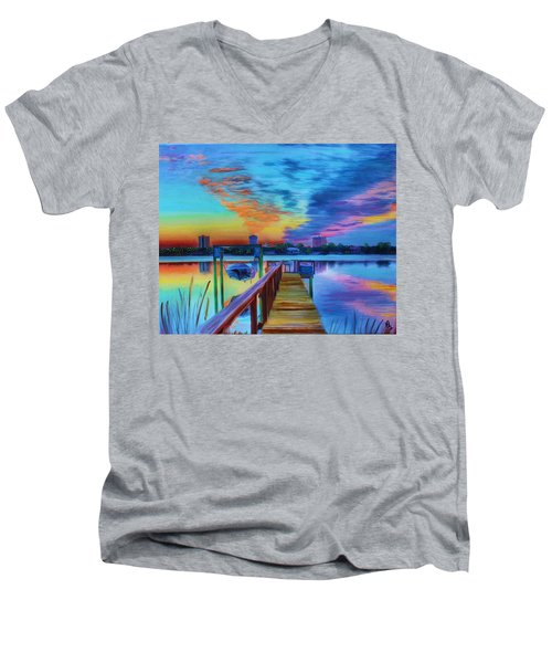 Sunrise On The Dock Men's V-Neck T-Shirt