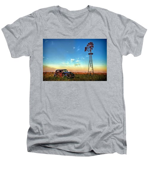 Men's V-Neck T-Shirt featuring the photograph Sunrise On The Farm by Ken Smith