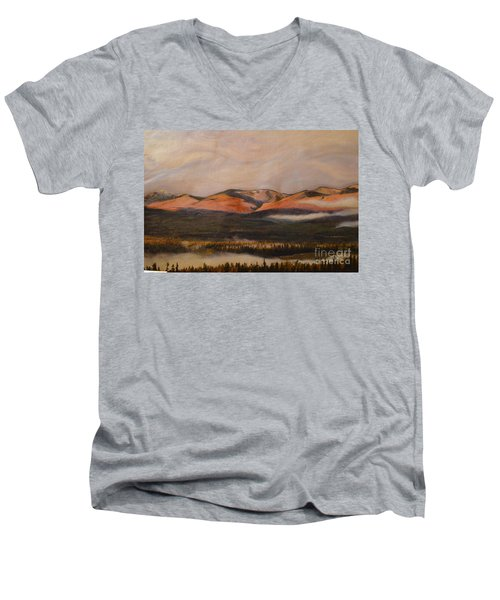 Men's V-Neck T-Shirt featuring the painting Sunrise On The Ibex Valley by Brian Boyle