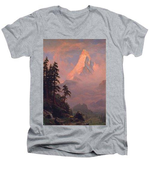 Sunrise On The Matterhorn Men's V-Neck T-Shirt