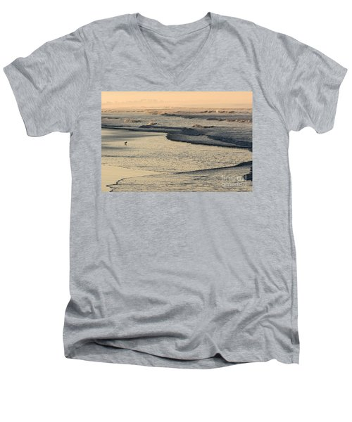 Men's V-Neck T-Shirt featuring the photograph Sunrise On The Ocean by John Wadleigh