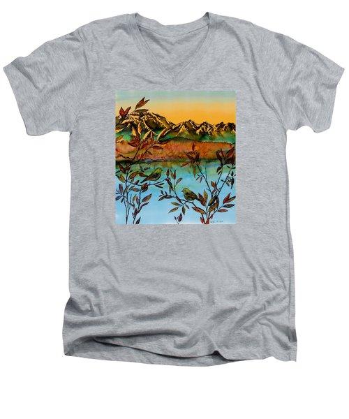 Sunrise On Willows Men's V-Neck T-Shirt by Carolyn Doe