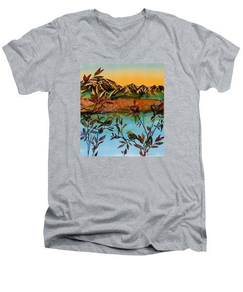 Sunrise On Willows Men's V-Neck T-Shirt
