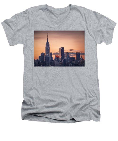 Manhattan Sunrise Men's V-Neck T-Shirt by Eduard Moldoveanu