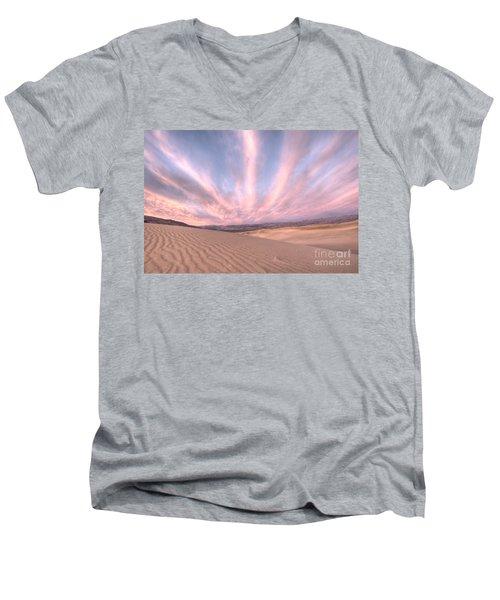 Sunrise Over Sand Dunes Men's V-Neck T-Shirt by Juli Scalzi