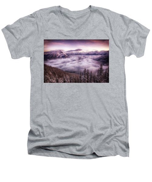 Sunrise Over The Canadian Rockies Men's V-Neck T-Shirt