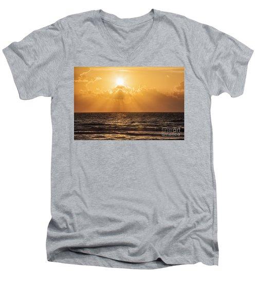 Sunrise Over The Caribbean Sea Men's V-Neck T-Shirt