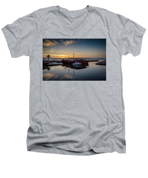 Sunrise Over The Sea Of Galilee Men's V-Neck T-Shirt