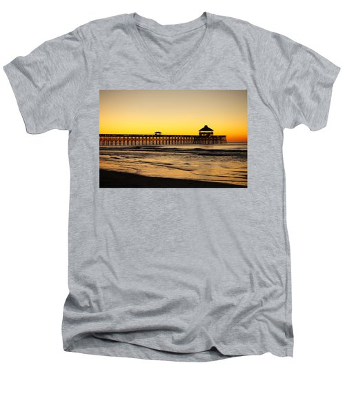 Sunrise Pier Folly Beach Sc Men's V-Neck T-Shirt