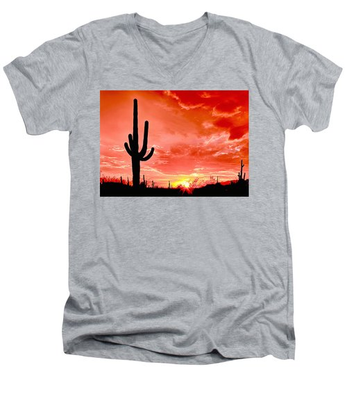Sunrise Saguaro National Park Men's V-Neck T-Shirt