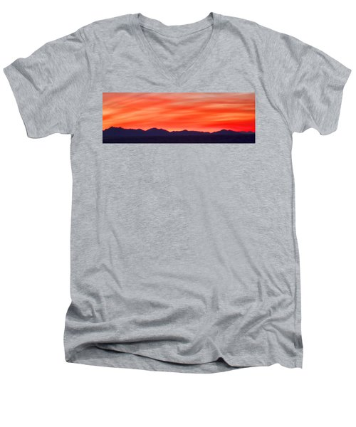 Men's V-Neck T-Shirt featuring the photograph Sunset Algodones Dunes by Hugh Smith
