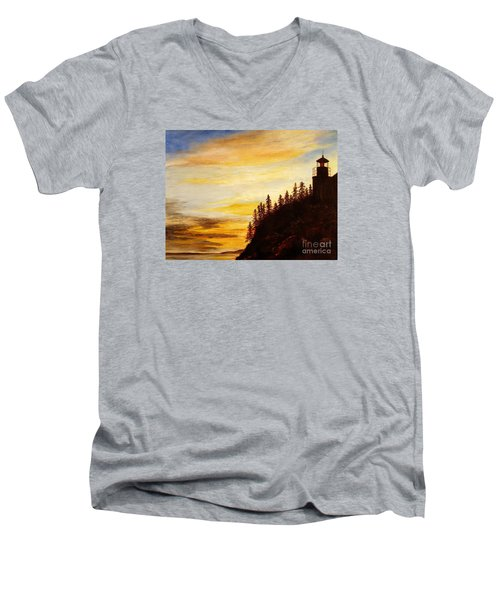 Men's V-Neck T-Shirt featuring the painting Sunset At Bass Harbor by Lee Piper