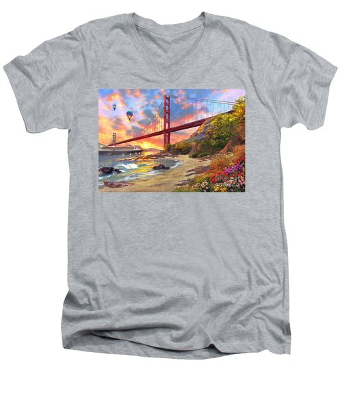 Sunset At Golden Gate Men's V-Neck T-Shirt by Dominic Davison