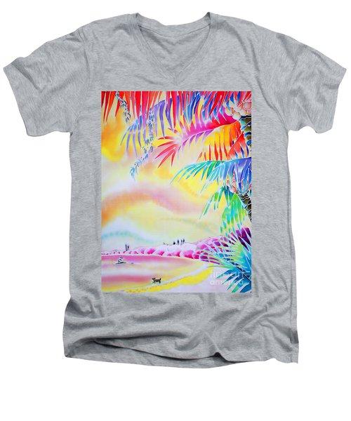 Sunset At Kuto Beach Men's V-Neck T-Shirt