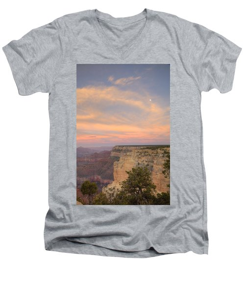 Men's V-Neck T-Shirt featuring the photograph Sunset At Powell Point by Alan Vance Ley