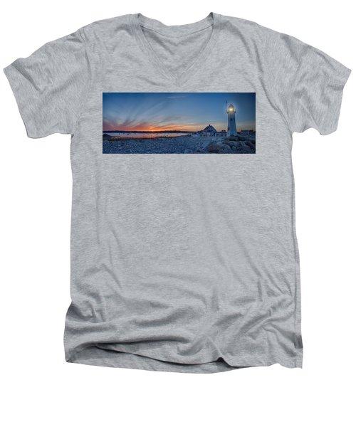 Sunset At Scituate Light Men's V-Neck T-Shirt