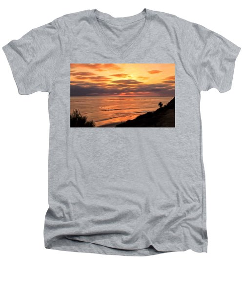 Sunset At Swami's Encinitas Men's V-Neck T-Shirt by Michael Pickett