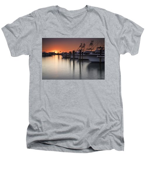 Sunset At The Pelican Yacht Club Men's V-Neck T-Shirt