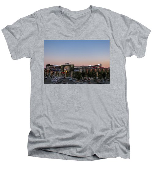 Sunset At Turner Field Men's V-Neck T-Shirt by Tom Gort