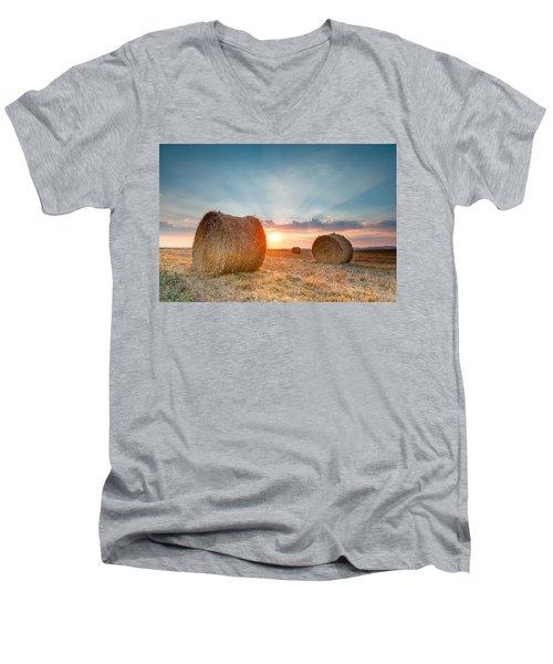 Sunset Bales Men's V-Neck T-Shirt