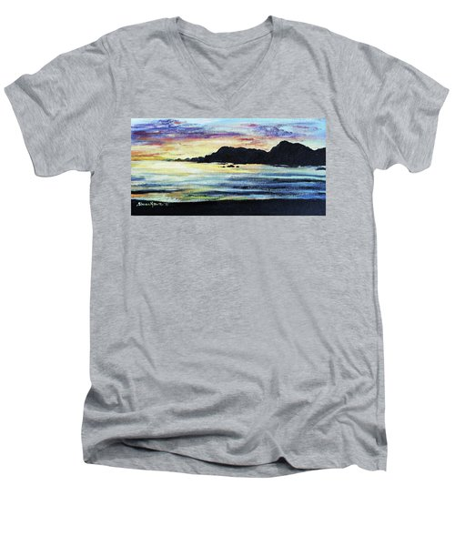 Men's V-Neck T-Shirt featuring the painting Sunset Beach by Shana Rowe Jackson