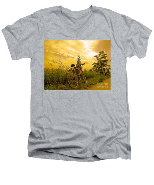 Sunset Biking Men's V-Neck T-Shirt by Nina Silver