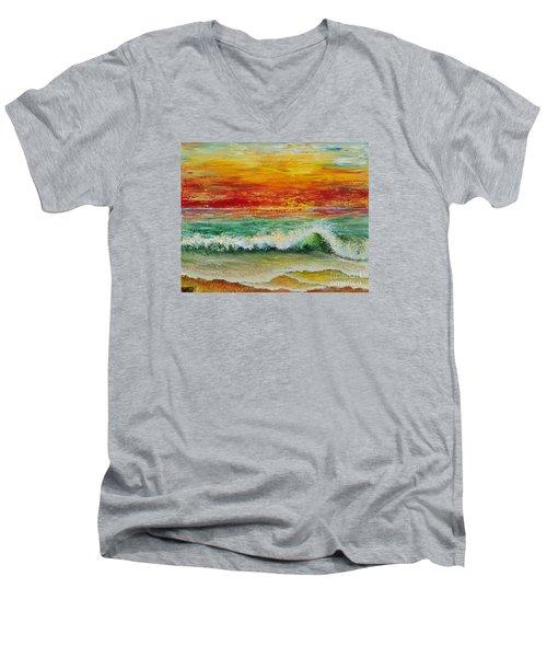 Sunset Breeze Men's V-Neck T-Shirt by Teresa Wegrzyn